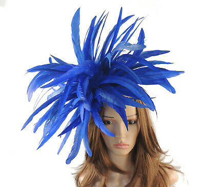 Royal Blue Feather  Fascinator Hat for weddings/ascot/proms With Headband F2