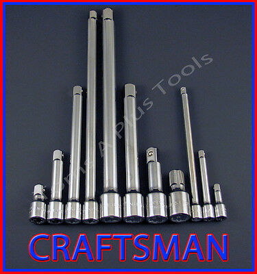 CRAFTSMAN HAND TOOLS 11pc LOT 1/4 3/8 1/2 ratchet wrench socket extension set !!