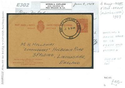 DBE302 1957	USA GB KGVI 2d Reply Card Returned From New Orleans/Spalding