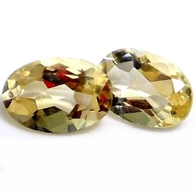 NATURAL AMAZING LIGHT YELLOW CITRINE LOOSE GEMSTONES (2 pieces) OVAL-FACETED