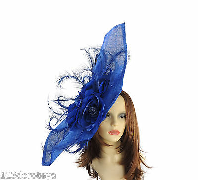 Large Royal Blue Fascinator for Ascot, Weddings, Proms, Derby