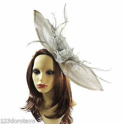 Silver Fascinator Hat for weddings/ascot E3