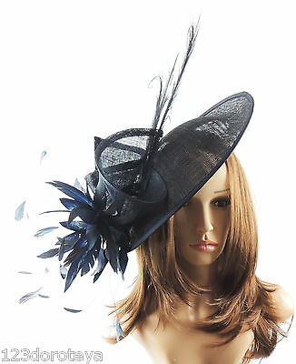 Navy Blue Fascinator Hat For Weddings/Ascot/Proms With Headband