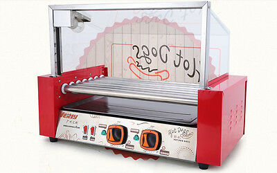 7 Tube Hotdog Maker  Sausage Machine Kitchen Double Temperature
