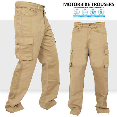 Motorbike Motorcycle Khaki Armours Cargo Trousers Jeans With Protective Lining