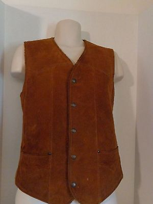 Vtg Pioneer Wear Brown Suede Leather Vest Mens Size 36 Lined Anywhere Anytime M