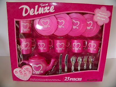 """Tea Set Dishes Deluxe 25 Pc. Children Doll Play Toy Hot Pink """"box damage"""""""