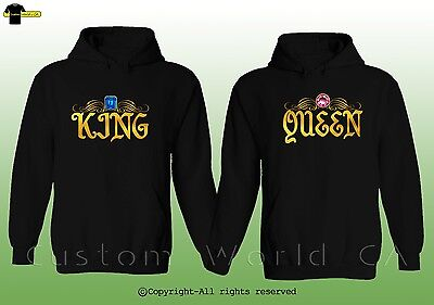 King & Queen Design Couple Matching Hoodie His And Hers Sweatshirts Love Clothes