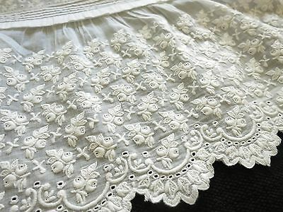 LOVELY Antique Baby Christening Gown c1800s DENSE WHITEWORK EMBROIDERY~ Sash BOW