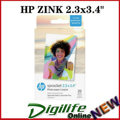 "HP ZINK Sticky-back 2.3x3.4"" 20 Sheet Glossy Adhesive Photo Paper Sprocket Plus"