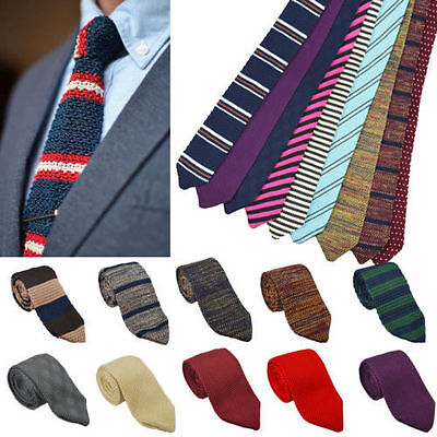 Men's Knitted Tie Colourful Color Woven Ties Narrow New Knot Slim Necktie h