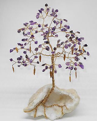 11 inch--Superbly colored AMETHYST gem tree on a QUARTZ crystal-lined Geode
