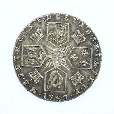 1787 George III .925 Sterling Silver 6d Sixpence Slight Rainbow Toning Lot F4