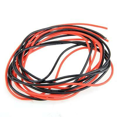 2X 3 Meter 14/16/18/20/22/24/26 Gauge AWG Silicone Rubber Wire Cable Red Black