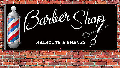 BARBER SHOP PVC Printed Banner Outdoor/Indoor Barbers Shop Sign with Eyelets