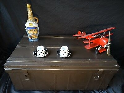 Vintage Military Style Large French Aluminium Shaped Trunk Chest Coffee Table