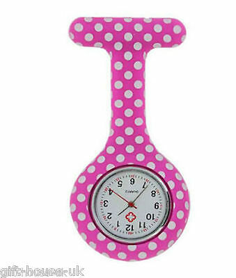 Polka Dot Pattern Nurse Watch  Silicone Brooch Tunic Fob Watch With FREE BATTERY