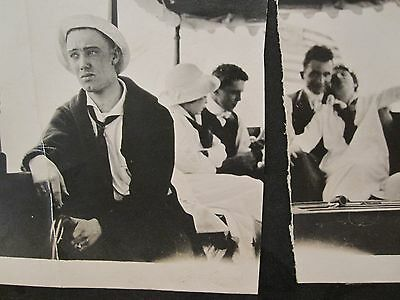 Antique Artistic Agony Mourning Peace Love Lake Ferry Young Man Couple Old Photo