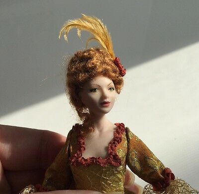Beautiful Porcelain Doll In Golden Gown by Tish Tierney - Dollhouse Miniature