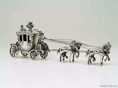 DIVINE DUTCH CARRIAGE REVOLVING WHEELS w/ GALLOPING HORSES SILVER MINIATURE