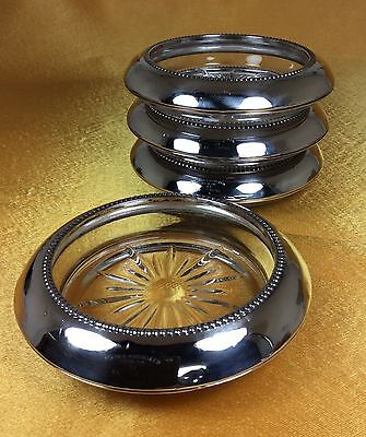 Vintage Antique Frank M. Whiting & Co. Sterling Silver Glass Coasters Set Of 4