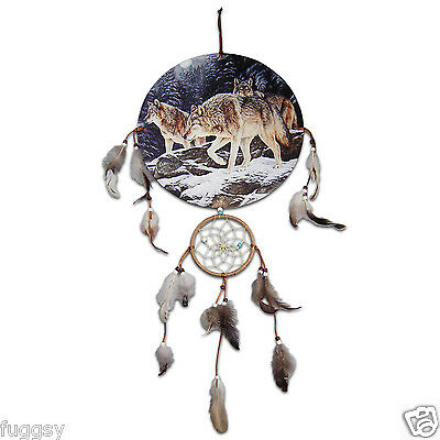 3 Wolves Native American Indian  Dreamcatcher 30cm Canvas NEW