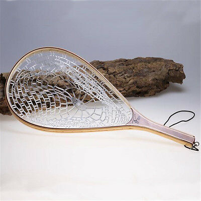 Wooden Handle Fly Fishing Landing Trout Clear Rubber Net Catch