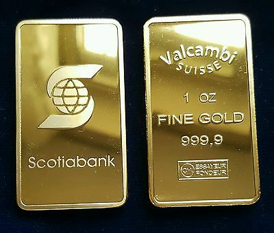 Lingotto Valcambi Placcato D'oro 24Kt Bullion One Ounce Plated In Fine Gold 999