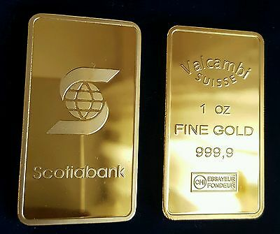 Ingot Valcambi Suisse Placcato D'oro 24K Bullion One Ounce Plated In Fine Gold