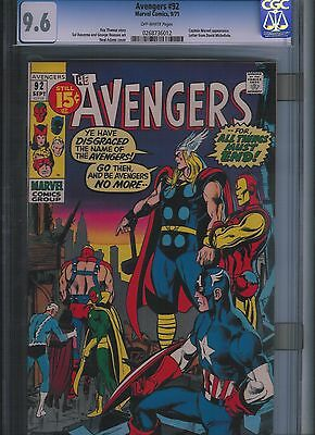 Avengers # 92 CGC 9.6  Off White Pages. UnRestored.