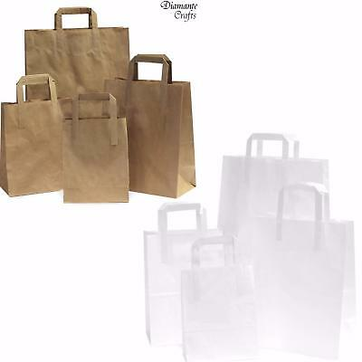 Kraft SOS Paper Carrier Bags with Flat Handles Brown or White Takeaway - 4 Sizes