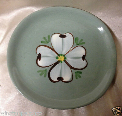 "Purinton Maywood Bread & Butter Plate 6 7/8"" White Dogwood On Green Slipware"