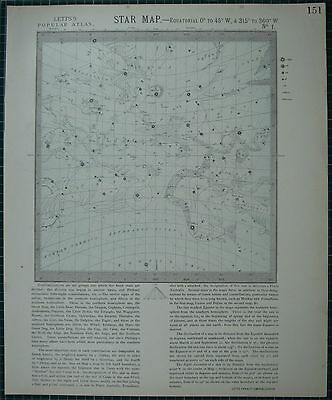 1883 Letts Star Map & Constellations Astronomy Aquarius Pegasus Andromeda Aries