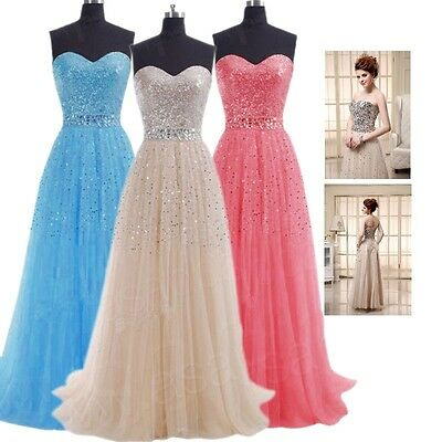 US Sequins Formal Bridesmaid Wedding Gown Long Prom Homecoming Evening Dresses 2