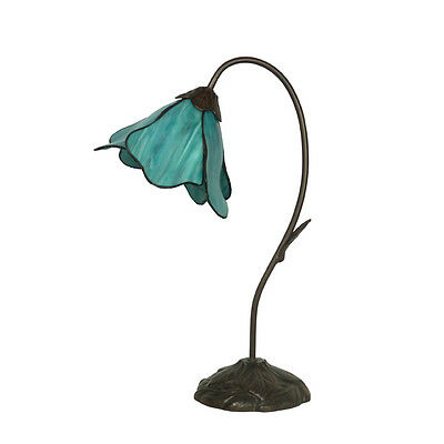 Lotus Teal Tiffany Style Bed / Table Lamp Lead Light - Will Ship Australia Wide