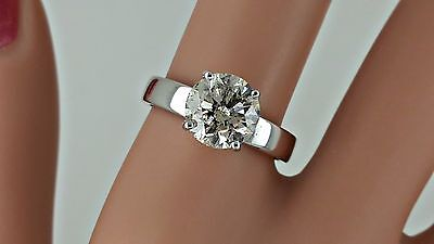2.03 Ct  Round Diamond Solitaire Engagement  Ring 14 K White Gold