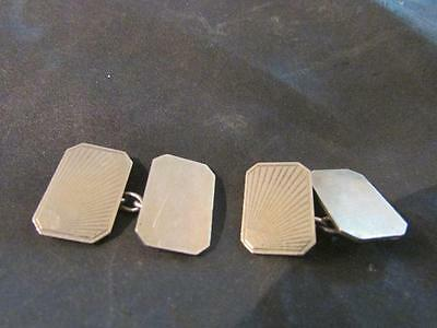 Lovely Art Deco Quality 9ct On Solid Silver Engraved Cufflinks,Boxed
