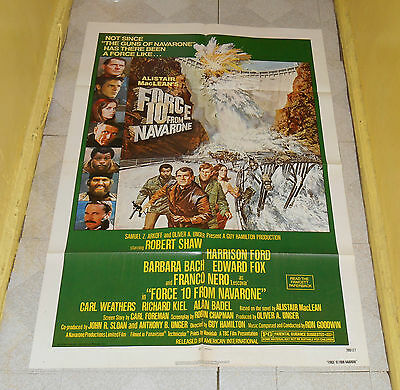 original FORCE 10 FROM NAVARONE one-sheet poster Robert Shaw Harrison Ford