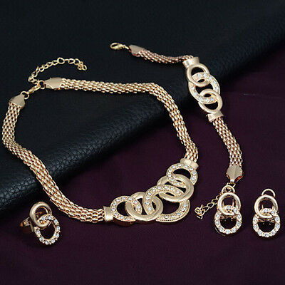 Bridal Sets Alloy Jewelry Fashion Necklace Crystal Earring Plated Women Gold