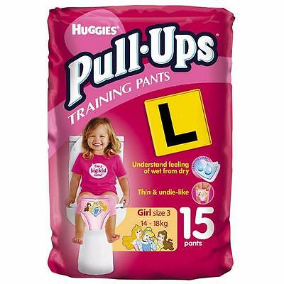 Huggies Girls Size 3 Pull Ups Toilet Training Pants Nappies PK of 15 (14-18KG)