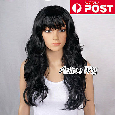Fashion 60CM Long Black Curly Fancy Dress Costume Cosplay Lady Party Wig