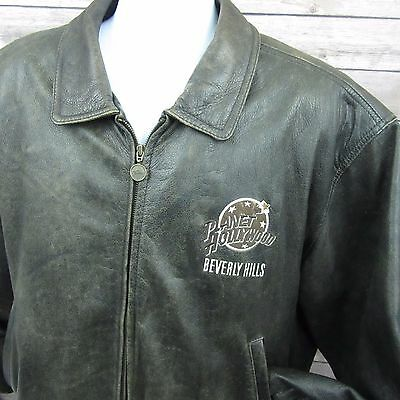Planet Hollywood Beverly Hills Brown Distressed Style Leather Jacket Size XL