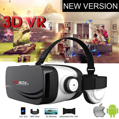 3D VR Headset with Headphone Virtual Reality Glasses for iPhone 5 6 7 8 Samsung