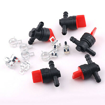 "5 Pcs 1/4"" IN LINE Straight Gas Fuel Shut OFF/CUT OFF Valves with 10 Hose Clamps"