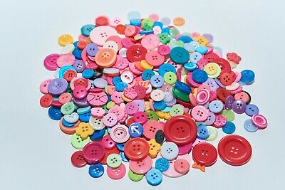 300 Muti Coloured Ridged Mixed Button In Multiple Sizes Craft Scrapbooking