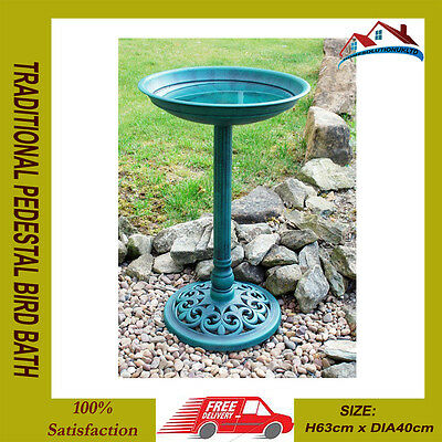 Ornamental Traditional Pedestal Bird Bath Outdoor Garden Water Weather Proof**
