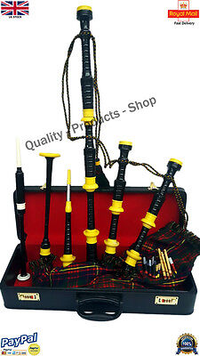 Great Scottish Highland Rosewood Bagpipes Cameron Of Erracht Tartan Ivory Mounts