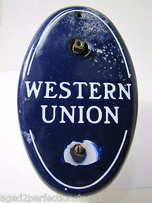 Old Porcelain Western Union Call Box telegraph telegram advertising adv sign box
