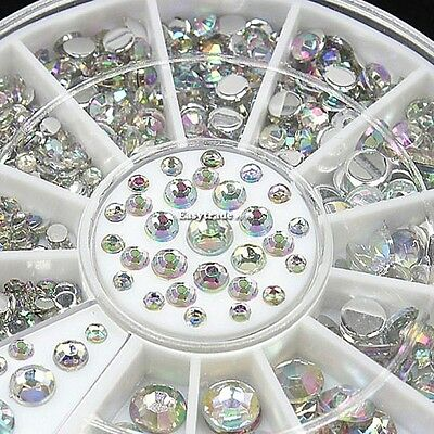 3D Nail Art Tips gems Crystal Glitters Rhinestone DIY Decoration + Wheel-300pcs