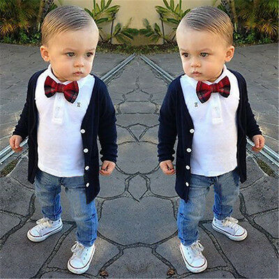 3PCS Kids Baby Boys Gentleman Coat+T-Shirt Tops+Denim Pants Set Outfits Clothes